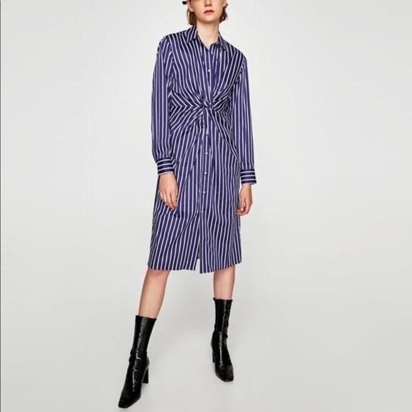 1012d3eb747 Zara Striped Tunic w Knot